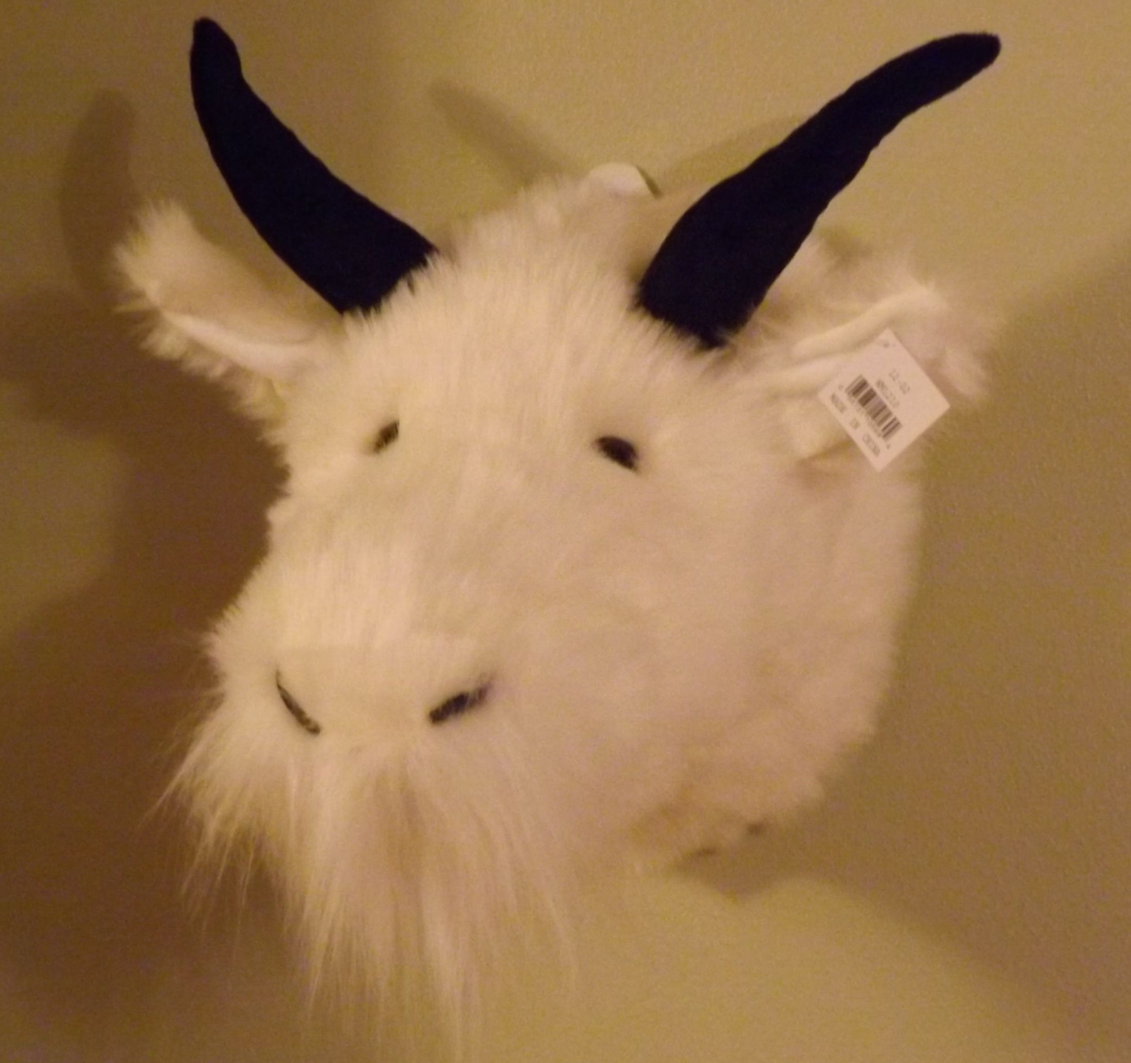 Stuffed Animal Mountain Goat Head Product Tags
