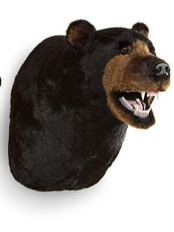 Life Size Faux Stuffed Black Bear Head Trophy Mount